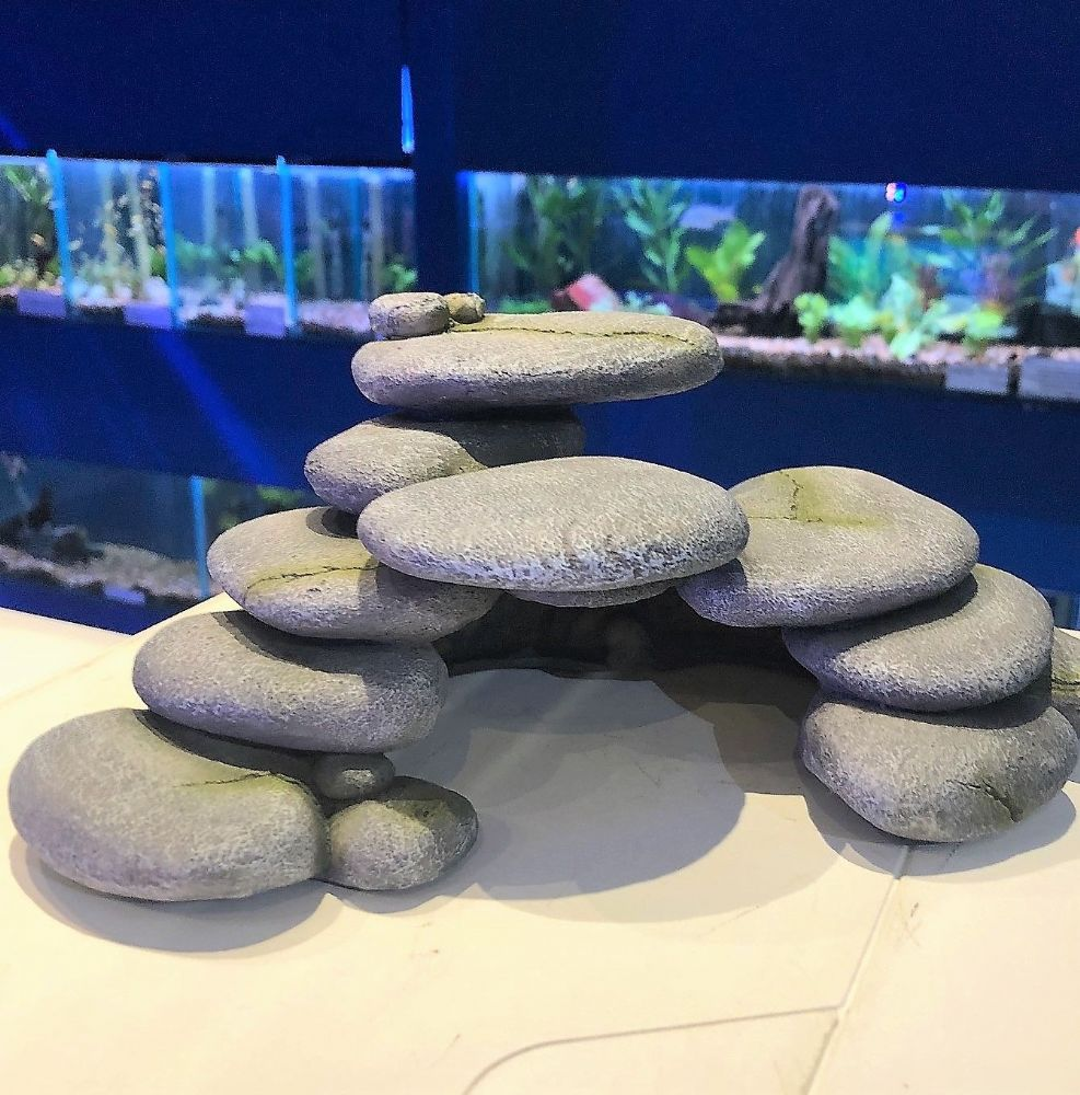 Grey Pebble Arch Cave Aquarium Fish Tank Catfish Hideaway Turtle Rest